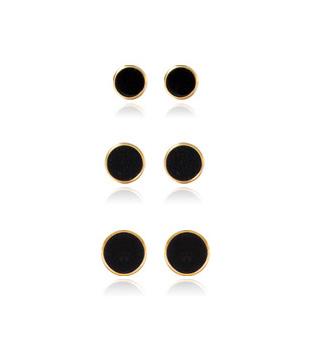 [10K] 블랙 라운드 귀걸이