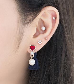 하트 & 펄 태슬 귀걸이